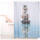 relaxdays douchegordijn stenen water 180 x 180 cm - anti-schimmel badkamer gordijn - bad