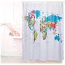 Relaxdays Douchegordijn Wereldkaart - 180x180cm - Anti-schimmel - Polyester