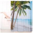 Relaxdays Douchegordijn Strand - 180x180 cm - Badkamer Gordijn - Anti-Schimmel - Beach
