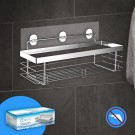 Doucherek Zonder Boren - RVS Badrek - Planchet Badkamer - Accessoires - Incl. 2 Powerstrips - Zilver - Quzi®
