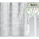 SPIRELLA douchegordijn decor CITIES - ZILVER - Polythileen Vinyl - 180 x 200 cm | DOUCHEGORDIJN + RINGEN
