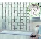 SPIRELLA douchegordijn decor FRAME - ZWART - Polythileen Vinyl - 180 x 200 cm | DOUCHEGORDIJN + RINGEN