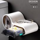 Decopatent® Design Toiletrolhouder met Lade & Leg plankje - Zonder boren - Hangende toiletpapierhouder - Toilet Wc rol houder