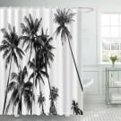 Ulticool Douchegordijn - Strand Natuur Retro Vintage Palmboom Kunst - 180 x 200 cm - met 12 ringen - Zwart Wit