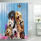 Ulticool Douchegordijn - Hond Dieren Honden - 180 x 200 cm - met 12 ringen - Blauw